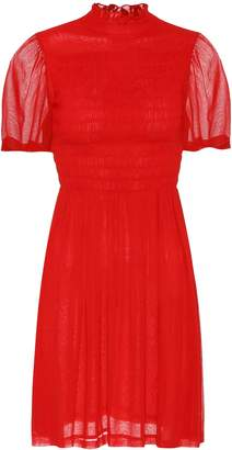 ALEXACHUNG Smocked georgette dress