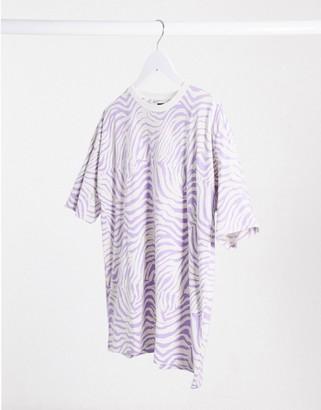 Asos DESIGN oversized t-shirt in lilac animal print