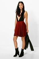 boohoo Jess Basic Scuba Skater Skirt berry