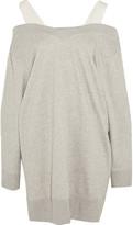 MM6 MAISON MARGIELA Canvas-trimmed Stretch Cotton-blend Jersey Sweater Dress - Light gray