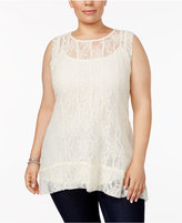 Style&Co. Style & Co Plus Size Lace High-Low Top, Created for Macy's