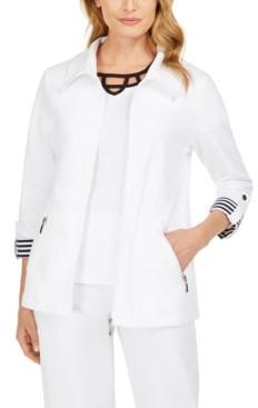 Karen Scott Petite Wing-Collar Striped-Cuff Jacket, Created for Macy's