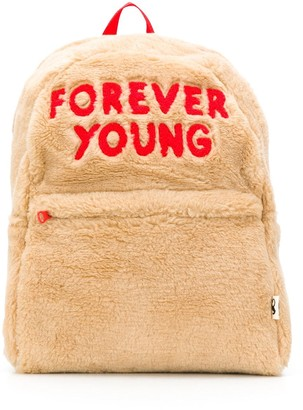 Mini Rodini forever young emboidered faux fur backpack
