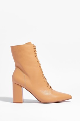 Nasty Gal Womens Walk This Way Lace-Up Heeled Boots - Beige - 3