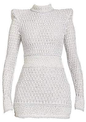 Balmain Women's Pearl Knit Long-Sleeve Mini Dress