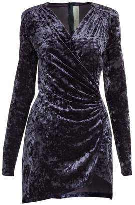 Off-White Off White Crushed Velvet Stretch Wrap Dress