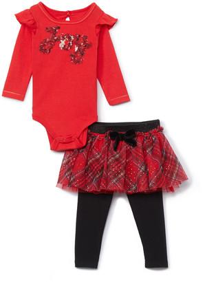 Baby Starters Girls' Infant Bodysuits Red - Red 'Joy' Bodysuit & Black & Red Plaid Skirt Leggings - Newborn