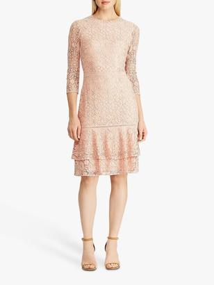 Ralph Lauren Ralph Halima Floral Lace Dress, Pink Macaron/Black