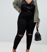 Asos DESIGN Curve Rivington high waisted jeggings with frayed knee rip detail