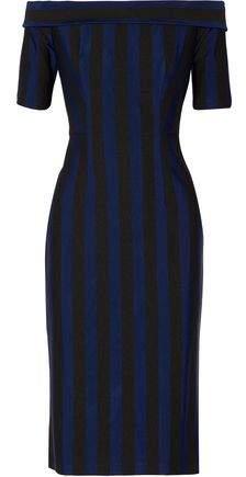 Dion Lee Off-The-Shoulder Striped Woven Dress
