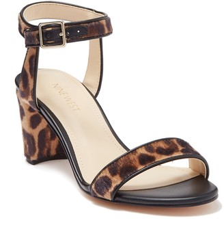 Nine West Pixel Leopard Print Faux Calf Hair Sandal