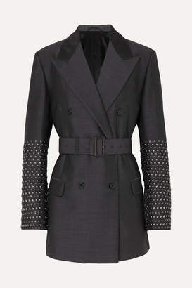 Prada Studded Double-breasted Mohair And Wool-blend Blazer - Gray
