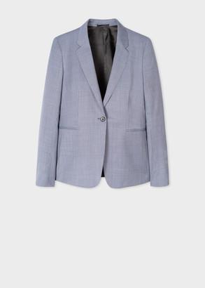 Paul Smith Women's Slate Blue Mini Houndstooth One-Button Wool Blazer