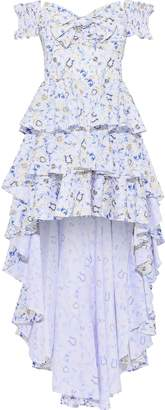 Caroline Constas Artemis Off-the-shoulder Tiered Printed Cotton-blend Poplin Dress