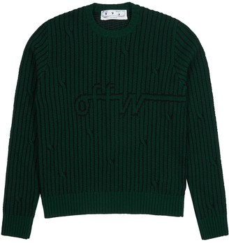 Off-White Green cable knit-intarsia wool-blend jumper
