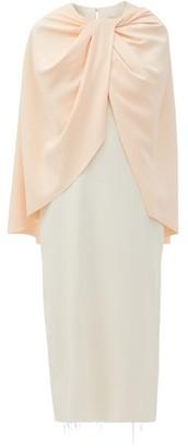 Marina Moscone Twist-front Cape-bodice Crepe Dress - Ivory