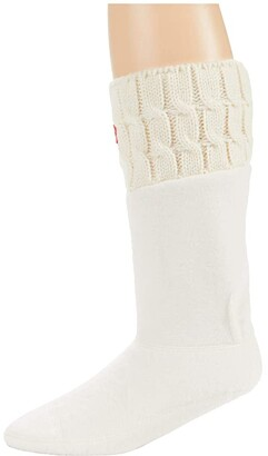 Hunter 6 Stitch Cable Boot Socks - Short White) Crew Cut Socks Shoes