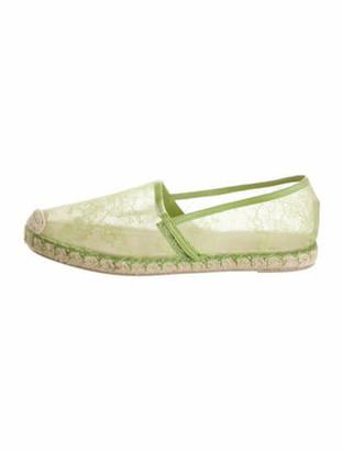 Valentino Lace Pattern Whipstitch Trim Espadrilles Green