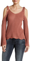 Flying Tomato Cold Shoulder Ribbed Sweater