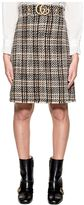 Gucci Black/brown Tweed Wool Skirt