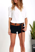 LuLu*s Here and There Tan Leather Fringe Belt