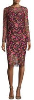 Lela Rose Long-Sleeve Embroidered Sheath Dress, Pink/Multi