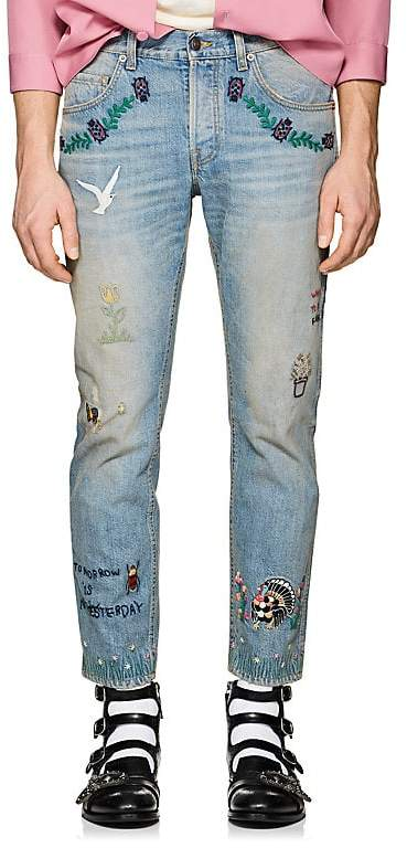 Gucci Men's Embroidered Distressed Slim Jeans