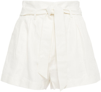 Frame Belted Pleated Linen And Cotton-blend Shorts