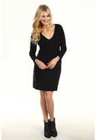 Sanctuary Vegan Leather Ponte Dress (Black) - Apparel