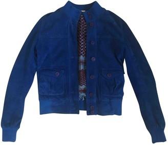 Le Sentier Blue Suede Jacket for Women