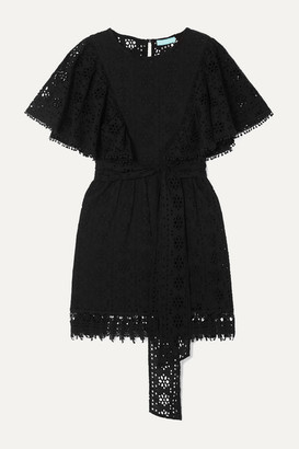 Melissa Odabash Kara Ruffled Broderie Anglaise Cotton Mini Dress - Black
