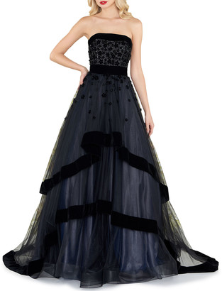 Mac Duggal Strapless Tiered Gown with Velvet Trim & Floral Appliques
