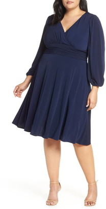 Eliza J V-Neck Long Sleeve Fit & Flare Dress