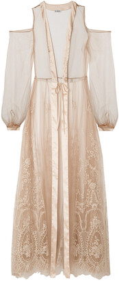 I.D. Sarrieri Mystere De Minuit Satin-trimmed Metallic Embroidered Tulle Robe