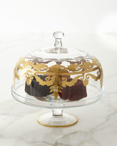 Arte Italica Vetro Matte Gold Dome Covered Cake Stand