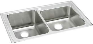 """Elkay Lustertone 37"""" L x 22"""" W Double Basin Drop-in Kitchen Sink Faucet Drillings: 4 hole"""