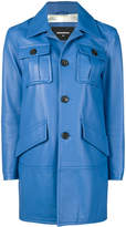 DSQUARED2 leather cobalt coat