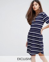Warehouse Striped Gathered Waist Dress