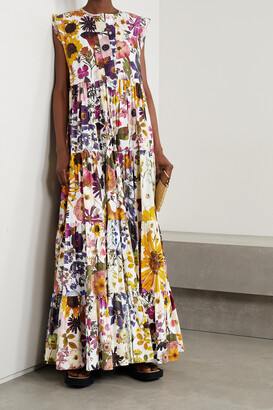 Oscar de la Renta - Tiered Floral-print Cotton-blend Poplin Maxi Dress - White