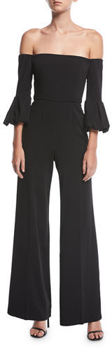Jay Godfrey Griffith Off-the-Shoulder Puff-Sleeve Wide-Leg Jumpsuit
