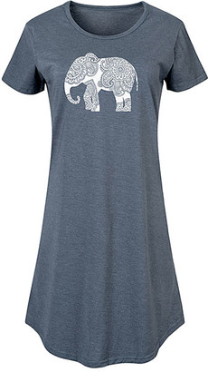 Instant Message Women's Women's Tee Shirt Dresses HEATHER - Heather Blue Henna Elephant Short-Sleeve Dress - Women & Plus
