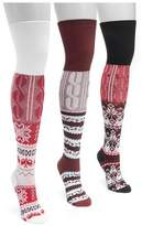 Muk Luks Women's 3 Pair Pack Lodge Over the Knee Socks - Multicolor One Size