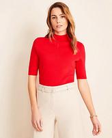 Ann Taylor Mock Neck Elbow Sleeve Sweater