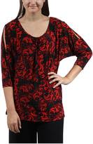 24/7 Comfort Apparel Red & Black Printed Tunic