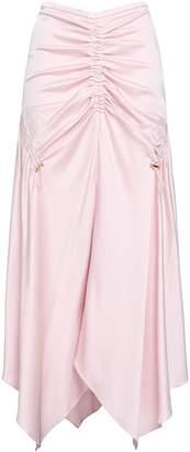 Peter Pilotto Ruched Satin-crepe Midi Skirt