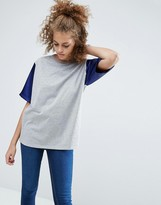 Asos T-Shirt with Color Block Satin Sleeves in Oversized Fit