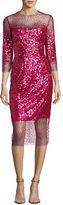 Monique Lhuillier Sequined Ombre Illusion 3/4-Sleeve Dress