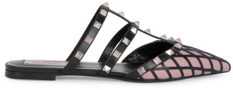 Valentino Rockstud Grid Flat Leather Mules