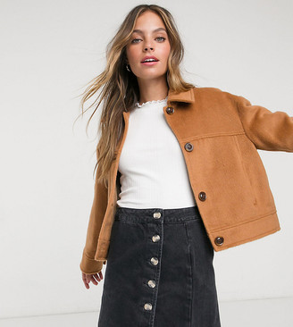 Miss Selfridge Petite faux fur trucker coat in camel