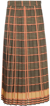 Gucci check print pleated skirt